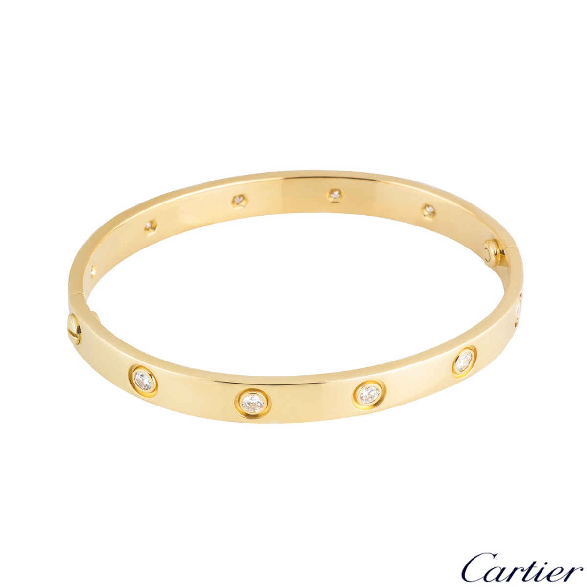 Cartier Yellow Gold Full Diamond Love Bracelet Size 18 B6040518